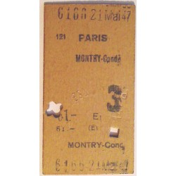 Ticket de train 21 mai 1947 Paris - Montry-conde