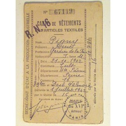 Carte et tickets de rationnement 1942